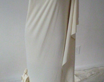 Cream Wedding Dress with Flounce/Ruffles on bottom/One shoulder very chic wedding dress