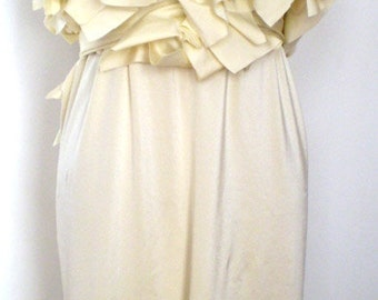 Ivory Empire Wedding Dress with Ruffles/Fabric drapes to create a trail/sash wrap to create bow in the back/handmade by Cheryl Johnston
