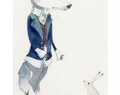 Wolf Print Wolf and bunny Rabbit Giclee art print illustration 8x11