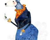 Bird and Dog giclee print illustration 8x11