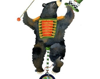 Bear on a unicycle illustration print 8x11