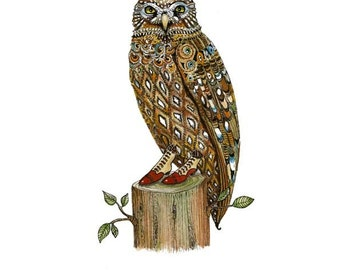 Owl art print Owl watercolor print Owl drawing art Owl Giclee art Print Owl in Favourite Boots illustration 8x11