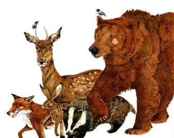 Bear art print Fox  Deer Hare Badger painting Bear art Print Brown Bear and woodland Creatures Fox, Deer, Hare, Badger 11.7x16.5