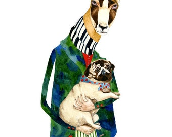Print Deer with Pug Dog 11.7x16.5