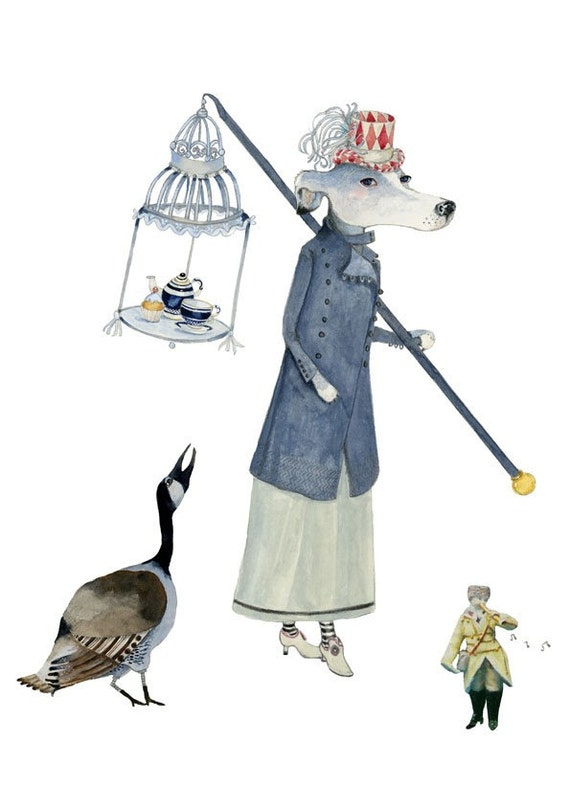 Print Dog and Goose Teatime parade illustration 8x11