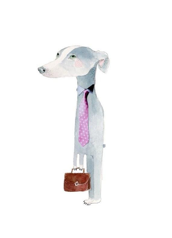 Dog Print Do drawing Dog watercolour Business dog Illustration 8x11