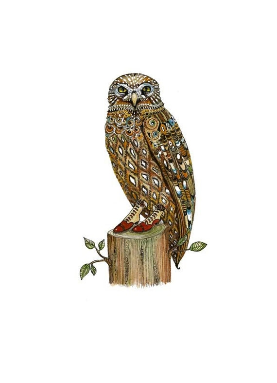 Owl Giclee art Print Owl in Favourite Boots illustration 8x11