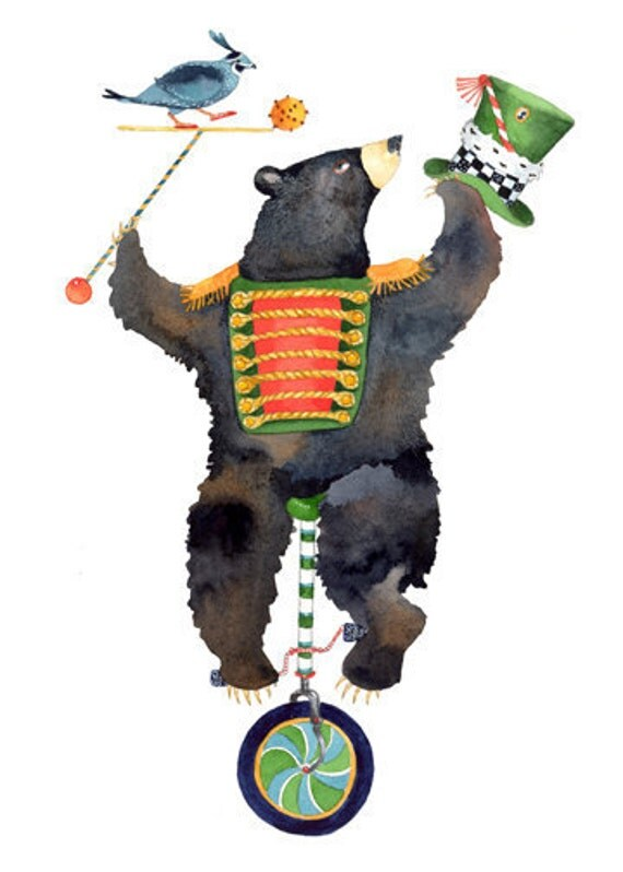 Bear Print Bear on a unicycle 11.7x16.5 bear  illustration
