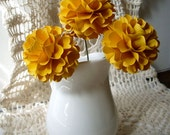 Pom Pom Chrysanthemum - Mustard Yellow - Set of 3 - Stems Included - Handmade Paper Flowers