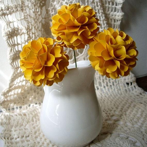 Pom Pom Chrysanthemum - Mustard Yellow - Set of 3 - Stems Included - Handmade Paper Flowers