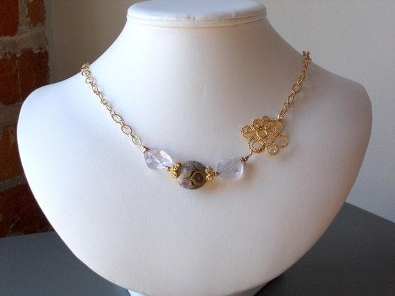 Clearance Sale 30% Off Necklace: Bliss Necklace Lavender Rock Quartz Lampwork Matte Gold
