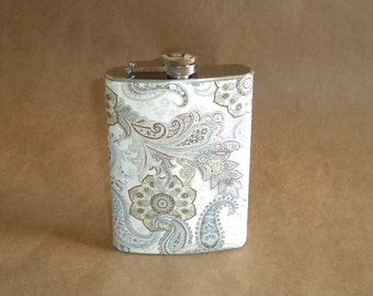 Bridesmaids Gift Flask of Blue, Brown and Cream Paisley Print 8 ounce Stainless Steel Hip Flask KR2D 1701