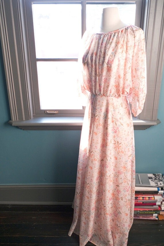 RESERVED for Emily…Pamplemousse…Vintage DREAMY floral MAXI dress in a peachy pink