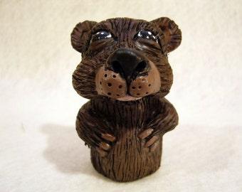 Brown Bear finger puppet, hand made, OOAK
