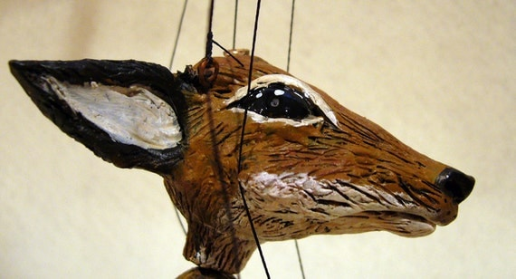 Fox marionette, hand-made, OOAK