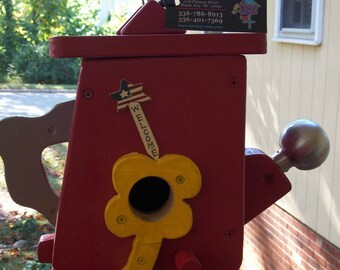 Red Watering Can Birdhouse  BUILT TO ORDER (Large Birdhouse)