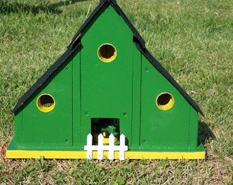 Green Barn Birdhouse Shingle Roof BUILT TO ORDER