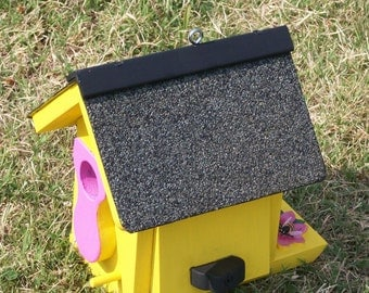 Yellow & Pink Birdhouse w/ Shingle Roof BUILT TO ORDER