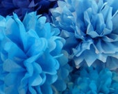 30 Blue Tissue Paper Pom Poms Wedding Party Decorations - set of 30 tissue paper pompoms
