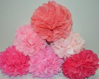 Tissue Paper Pom Pom, Tissue Paper Pompom, Wedding, Baby Shower Decoration - Set of 12 - your colors