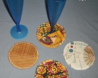 Wine Glass Fabric Coaster Cover Marker Set of 4 Dining Dinner Kitchen Party Wedding Favor Stocking Stuffer Gift Home Bar Entertaining