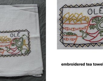 Hand Embroidered Tea Towel Flour Sack Cotton Jalepeno Pepper Chili Spice Chilies Mexican Green Red Yellow Pottery Vintage Retro Home Kitchen