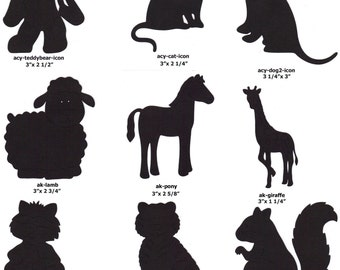 Scrapbook Embellishments Paper Cut-Outs B - 8 Silhouettes of Your Choice Animals Nature Zoo Farm Jungle Crafts Decorations Party Nature