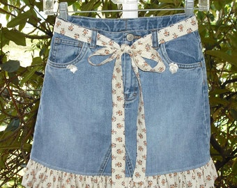 Upcycled GAP Jeans Denim Girls Skirt Size 10 Ruffled with Matching Tie Belt Recycled Blue Jeans Boho Rockabilly Fashion Casual