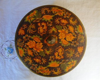 VINTAGE FLORAL Tin Fall Colors Covered Tin Container Storage Treasure Keeper  English Mid Century Foilage Made in England Calico Colors Tin