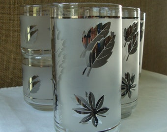 8 VINTAGE FROSTED FOLIAGE Glasses 8 Piece Glassware by Libby Frosted Foliage Drinking Glasses - Mid Century Glassware