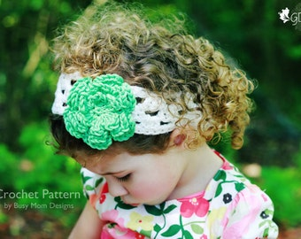 "CROCHET HEADBAND PATTERN - ""A Touch of Spring"" - All sizes: Baby, child, teen, adults - Easy - pdf 303"