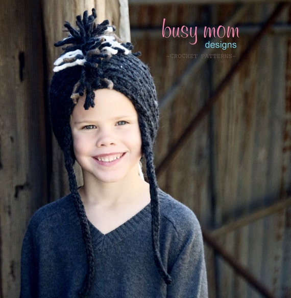 Crochet Hat PATTERN - Punk Rock Mohawk - Includes sizes from PREEMIE to Adults - Fast and Easy - Sell What You Make - PDF 119
