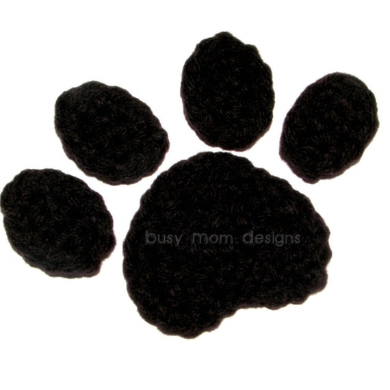 Free Crochet Pattern For Paw Print : Crochet PATTERN Paw Print Applique Easy Great for many