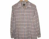 Vintage 1970's JC PENNEY Button Up Plaid Shirt Polyester Cotton M Medium