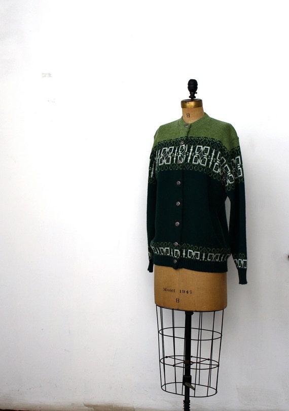 1970's Green Wooly Intarsia Cardigan