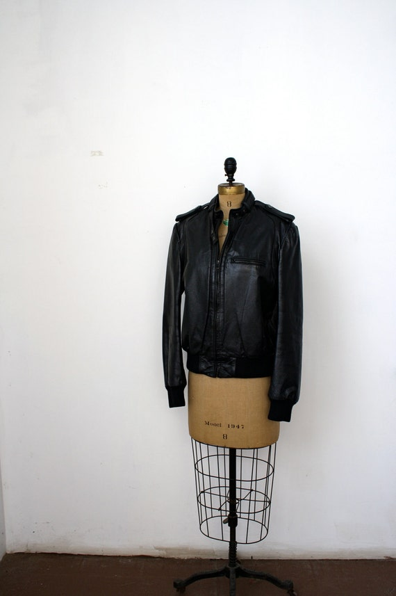 1970's Black Leather Racer Jacket