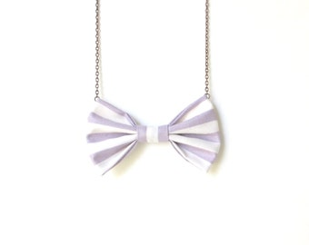 Purple Stripes - Bow Tie Necklace, Pastel Casual Bowtie For Girls and Women