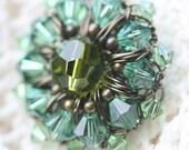 Green Ombre - Aqua Brooch - Olive Green Pin - Wire Crochet Brooch - Crochet Jewelry - Blue Green Crystal Jewelry - Rustic Jewelry