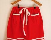 SKIRT DAYLIE, Wide Red Children's Sailor Skirt With White Stripes, Above Knee Length, Big Balloon Pockets, Elastic Waist Band White Ribbon