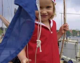 DRESS CENTRECOURT, Red Children's and Babies' Sailor Dress In Nineteen-Twenties Tennis Style, Sleeveless, Low Waist, Pleated Skirt, Linen