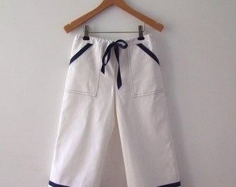 PANTS DAYLIE, White Maritime Children's and Baby's Pants With Navy Blue Stripes, Wide, Long Legs, Cotton Linen, Maritime Baptism Pants
