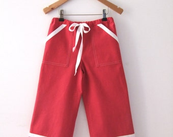 PANTS DAYLIE, Red Maritime Children's and Baby's Pants With White Stripes, Wide, Long Legs, Cotton Linen, Summer, Maritime Wedding, Baptism