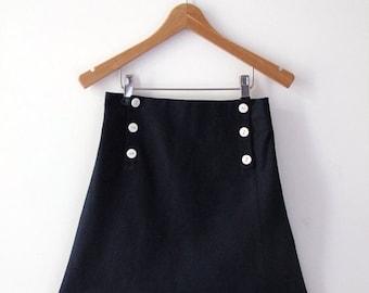 SKIRT AHOI, Navy Blue Children's Sailor Skirt with Front Flap Button Closure, Knee-length, Summer-Skirt, Linen-Cotton-Blend, Maritime Style
