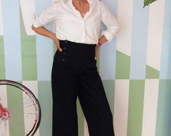 PANTS AHOI WOMEN, Navy Blue Women's Sailor Pants, Long Wide Legs, High Waist, Sailor Flap With Button Closure, Cotton, Linen,Marlene Pants