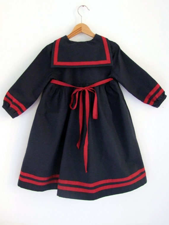 DRESS LÜBECK, Navy Blue Girl's Sailor Dress With Red Stripes, Long Sleeves,Over Knee-Length,High Waist, Ribbon To Tie, Soft Cotton Fabric