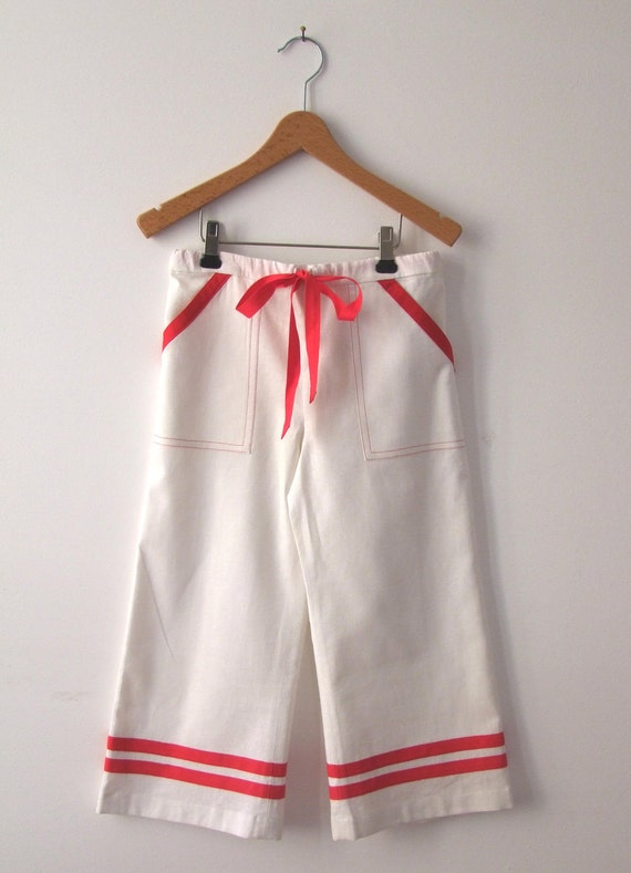 PANTS DAYLIE, White Maritime Children's and Baby's Pants With Red Stripes, Front Pockets,Wide Long Legs, Cotton Linen Summer Pants, Baptism