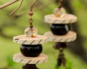 Cork Earrings with Botswana Agate, Crystal, and Antique Copper Accents - Upcycled Wine Cork