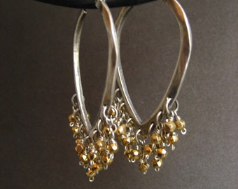 Sterling silver triangular hoop earrings with golden pyrite - solid sterling silver