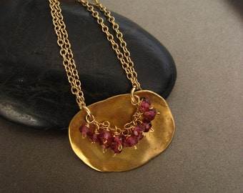 Vermeil and rhodolite organic plaque necklace - solid sterling silver pendant with 14k gold plating
