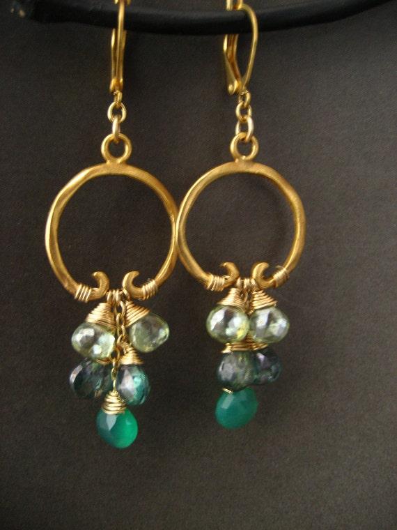 Green onyx, alexandrite and mystic green quartz cascading hoop earrings